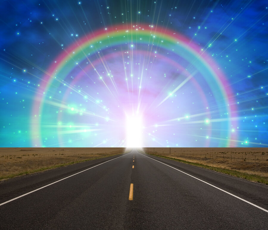 online psychic readings, new beginnings, credit card phone readings, road, rainbow, light at the end of the rainbow